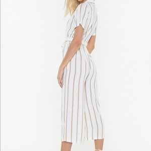 Nasty Gal white striped jumpsuit